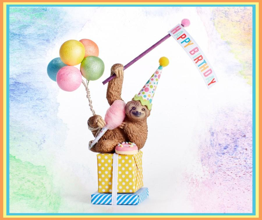 Wedding - Sloth cake topper/sloth collectible/ Party Animal Cake Topper/Sloths