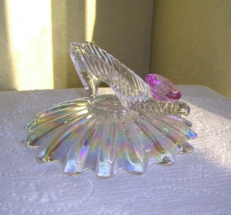 Wedding - Cinderella Slipper with Iridescent Pillow Bowl & Oleg Cassini Crystal, Cinderella Wedding Reception Shower Centerpiece Table Decoration