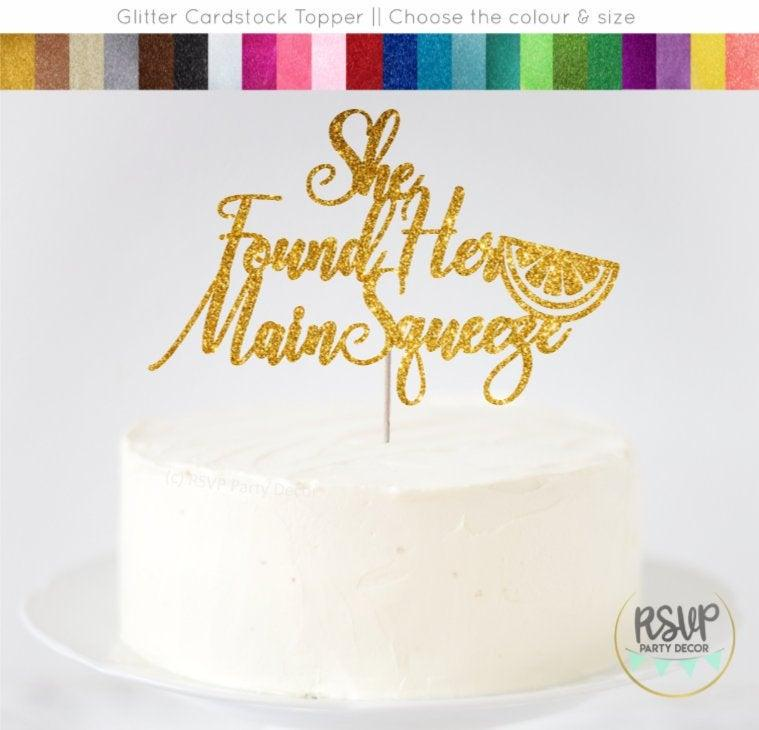 Wedding - She Found Her Main Squeeze Cake Topper, Lemon Themed Bridal Shower Decorations, Citrus Bridal Shower Decorations, Fruit Themed Cake Topper