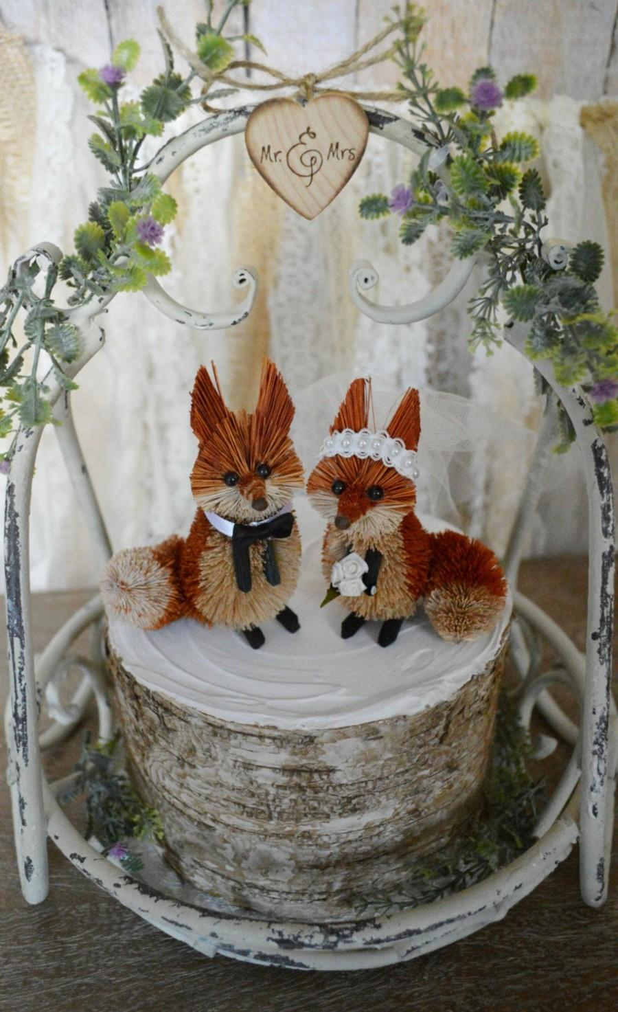 Wedding - Fox wedding cake topper fall autumn red fox bride and groom porcelain country rustic animal fox wedding Mr and Mrs decorations fox bride