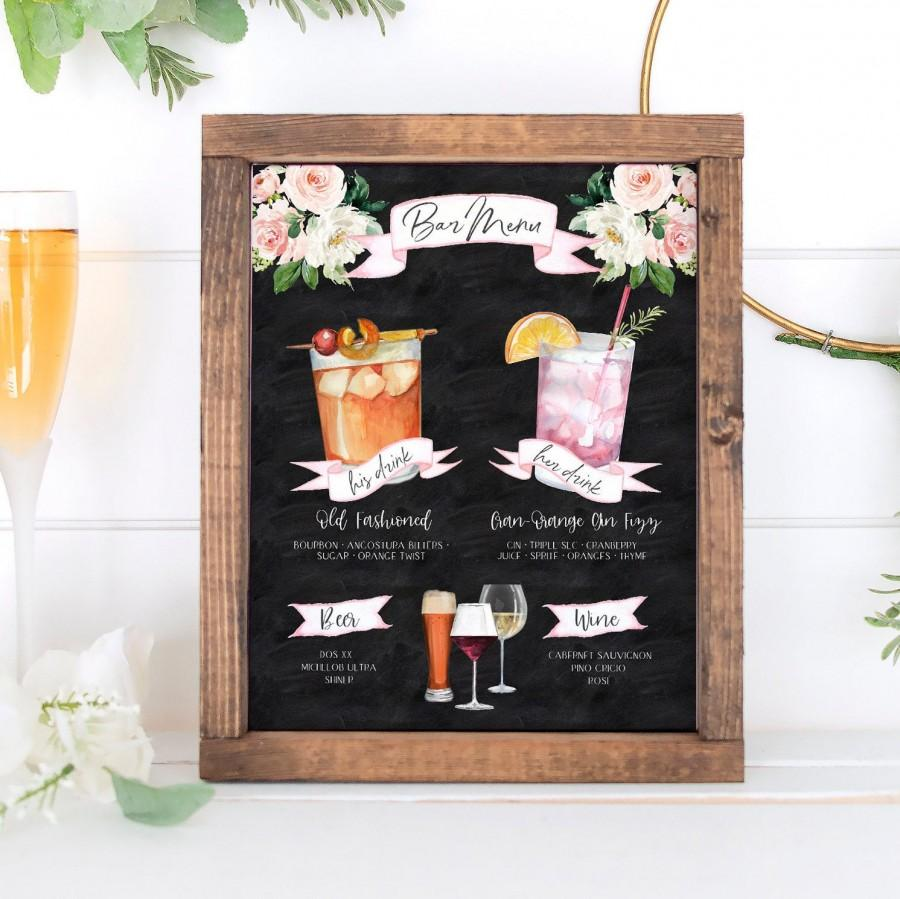 Wedding - Design Your Own! 150 Drink Images + Garnishes Included, Signature Cocktail Sign Template, Chalkboard Bar Menu Printable, Instant Download