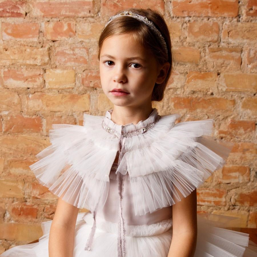 Wedding - Flower Girl White Bolero,Girl Detachable COLLAR, Cape Bolero,Ruffle Bolero,Boho Wedding Dress,Flower Girl Shawl,Girl Tulle Collar