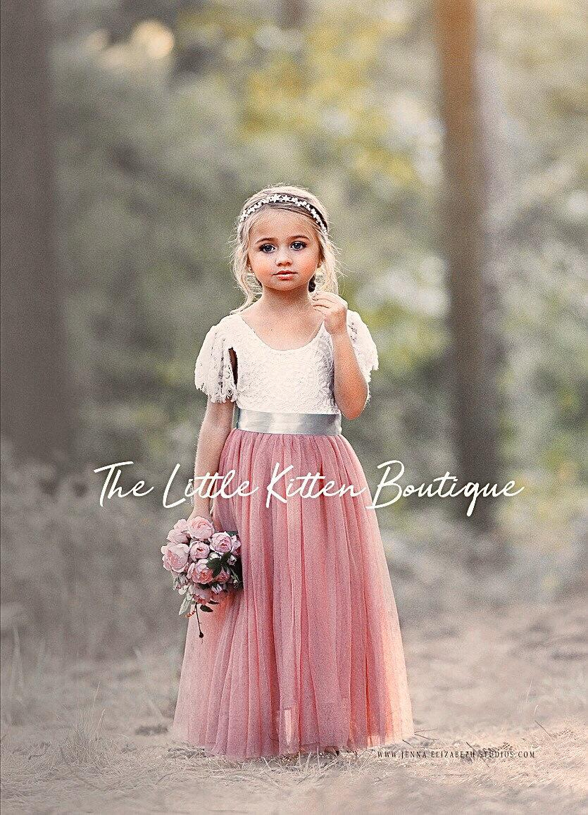 Wedding - tulle flower girl dress, rustic lace flower girl dresses, flower girl dress, boho flower girl dress, ivory flower girl dress, Dusty Rose