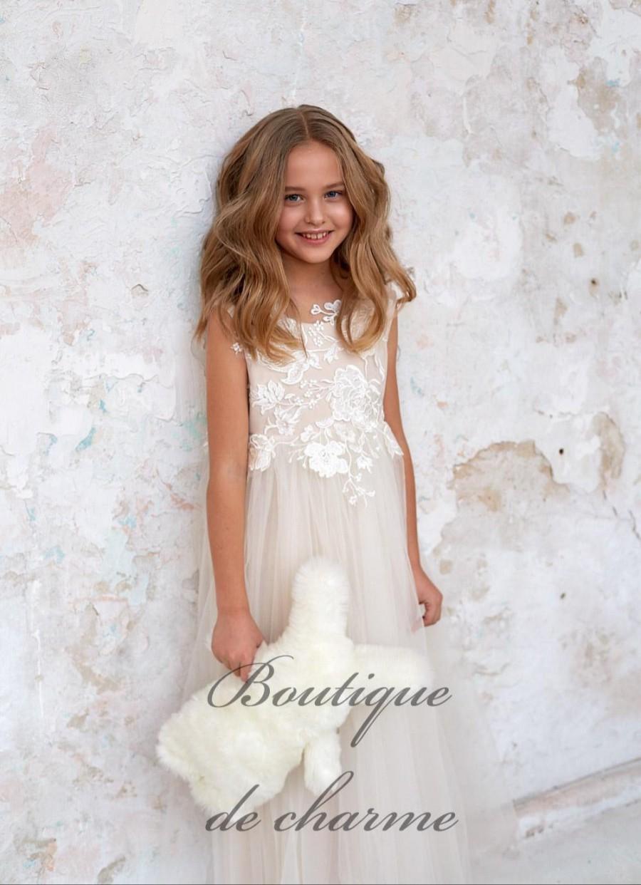 Wedding - Lace girls dress,White Boho dress,Tulle Dress,Junior Bridesmaid dress,Ivory Flower Girl Dress,Maxi Dress,Ivory Lace Dress,Tulle Tutu dress
