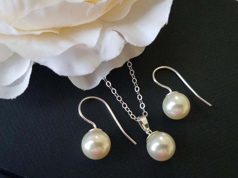 Wedding - Pearl Bridal Jewelry Set, Ivory Pearl Silver Earrings&Necklace Set, Swarovski Pearl Jewelry Set, Wedding Classic Jewelry, Bridal Party Gift