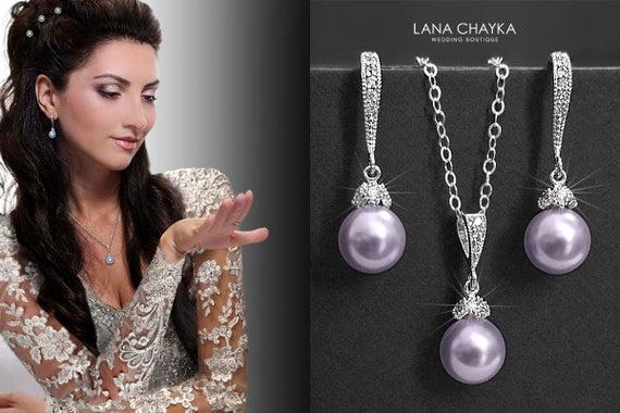 Hochzeit - Lavender Pearl Jewelry Set, Swarovski 8mm Pearl Earrings&Necklace Set, Lilac Silver Jewelry Set, Wedding Lilac Jewelry, Prom Lilac Jewelry