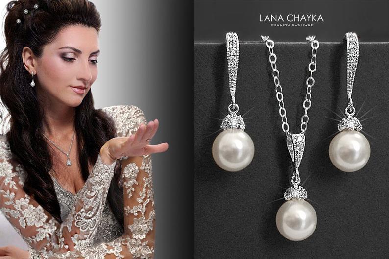 Wedding - White Pearl Bridal Jewelry Set Pearl Necklace&Earrings Set Swarovski 8mm Pearl Sterling Silver Cz Set Drop Pearl Wedding Jewelry Set Bride