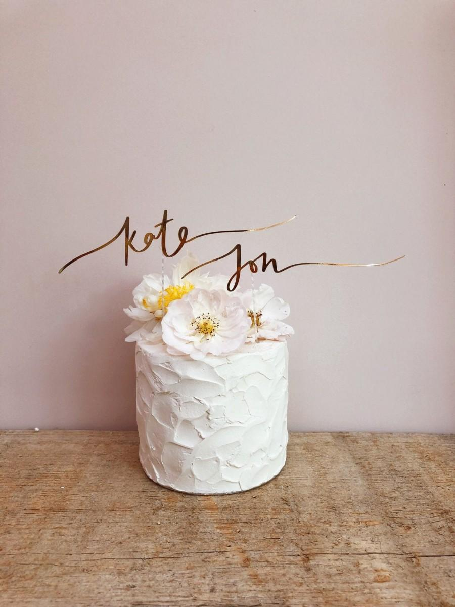 Wedding - Personalised Couples Name Calligraphy Wedding Cake Topper