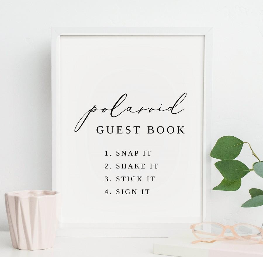 Wedding - Polaroid Guest Book Wedding Sign, Photo Guestbook Sign, Rose Gold Sign, Guest Book Sign, Polaroid Sign, PDF Instant Download