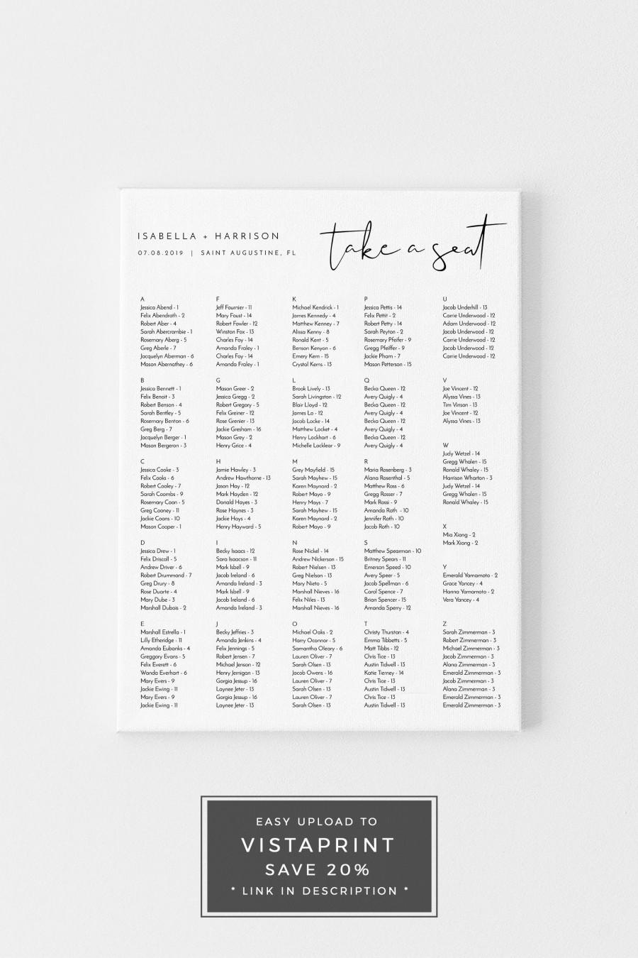 Wedding - Adella - Portrait Minimalist Wedding Seating Chart Template, Alphabetical Seating Chart Wedding, Modern SEating Chart, Templett Seating