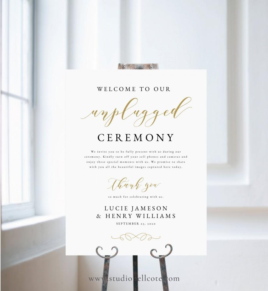 Wedding - Gold Unplugged Wedding Sign-Unplugged Ceremony Sign-No cell phones Sign-SN029_UCG