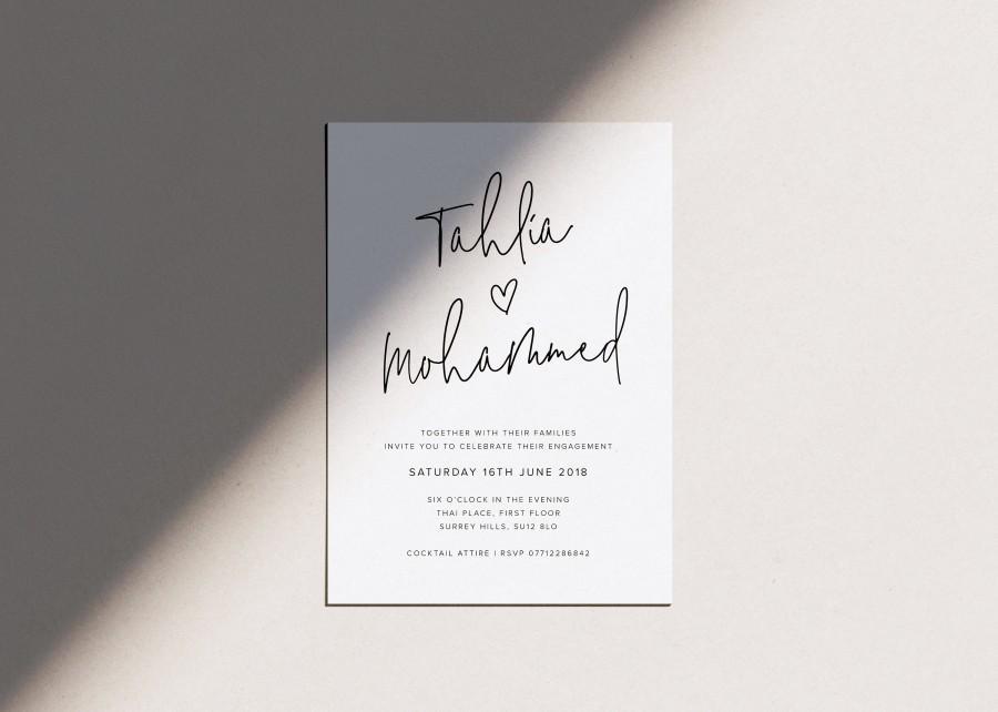 Wedding - Printable Engagement Invitation - Engagement Party Invitation - Simple Engagement Invitation - Digital Engagement Invite - Custom Invitation