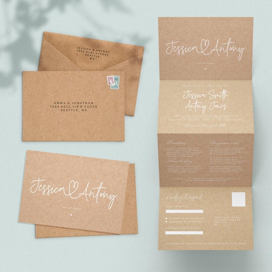 Wedding - Concertina Wedding Invitation, Rustic Wedding Invitation, Tri fold Wedding Invites, Wedding Invite Kraft, Wedding Invitations Boho  #114
