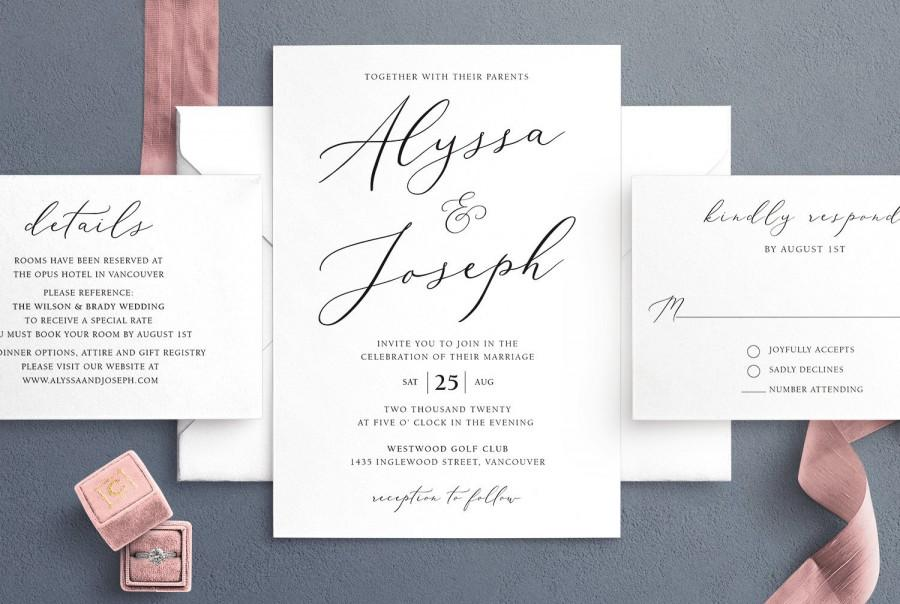 Mariage - Simple Wedding Invitation Template, Minimalist Wedding Invitations, Elegant Editable Wedding Invite, Digital Download, LSS27