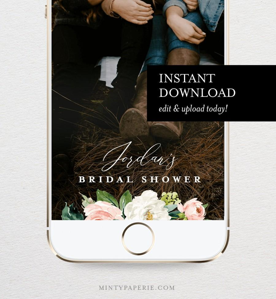 Wedding - Self-Editing Bridal Shower Geofilter, SnapChat Filter, Blush Florals & Greenery, INSTANT DOWNLOAD, 100% Editable, Templett  #043-108GF