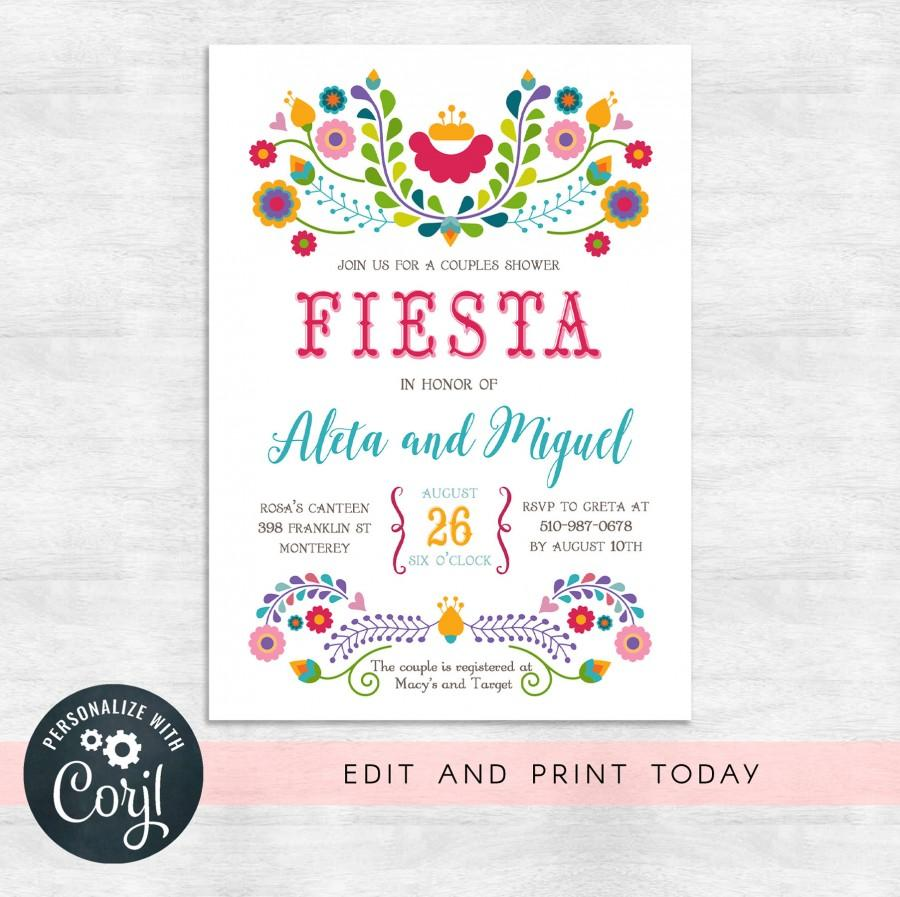Свадьба - Fiesta couples shower invitations / fiesta invitation / wedding shower invites / INSTANT DOWNLOAD / Printable, Editable Template