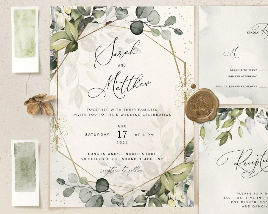 Mariage - REESE - Geometric Greenery Wedding Invitation, Boho Watercolor Eucalyptus Wedding Invite Template, Bohemian Wedding Suite, Instant Download