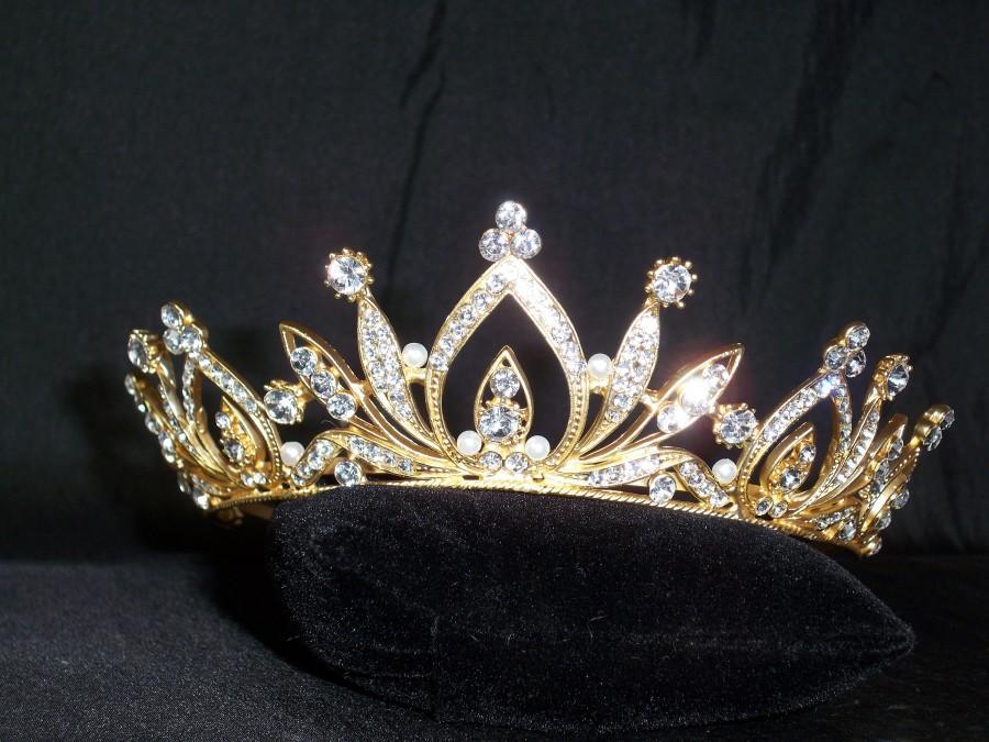 Mariage - Gold rhinestone pearl tiara, bridal tiara, princess tiara, birthday tiara, gold tiara, Quenceanera tiara, gold crown, rhinestone tiara,
