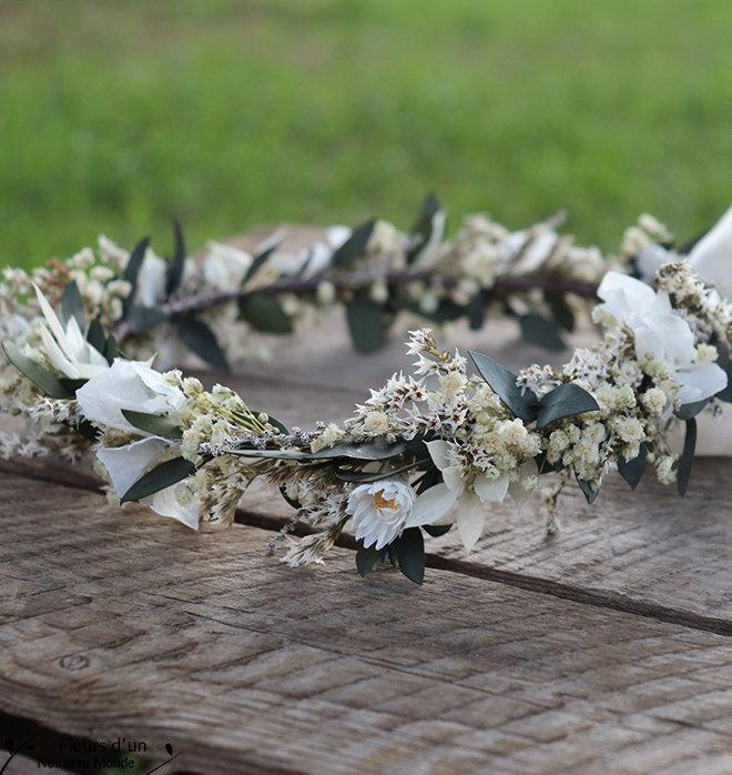 "Mariage - Hair crown ""Fanny"", dried flowers wreath for wedding, bridal crown with preserved flowers, hairstyle Bride accessory, eternal flowers crown"