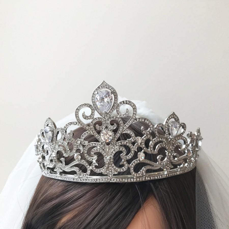 Mariage - Zirconia bridal tiara Sparkle wedding tiara Vintage Bridal Tiara Rhinestone Wedding Crown Royal Bridal diadem Crystal tiara Zirconia  tiara