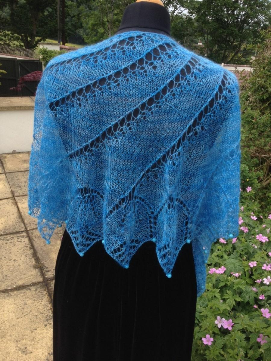 Mariage - Turquoise Mohair Shawl with beads
