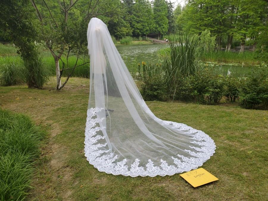 زفاف - Lace Wedding Veil, two Tier Veil Lace veil Bride Wedding Cathedral veil bridal veils White ivory 3m Lace Mantilla Veil and comb