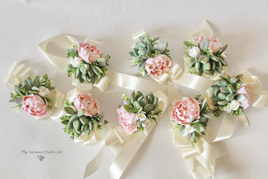 Wedding - Succulent Corsage Blush peony corsage Bridal wristlet Bridesmaid corsage with succulents and peonies Keepsake bouquet Succulent corsage