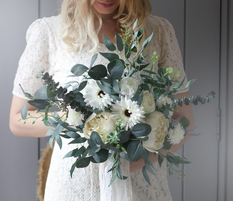 Wedding - Boho Greenery Bouquet, Dried Eucalyptus Bouquet, bridal bouquet, wedding bouquet, woodland bouquet