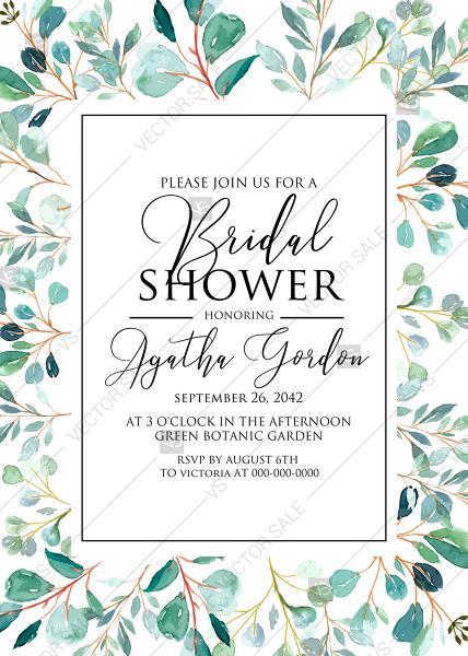 زفاف - Bridal shower Greenery wedding invitation set watercolor herbal background PDF 5x7 in invitation editor
