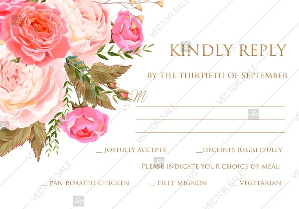 Hochzeit - RSVP card wedding invitation set pink garden peony rose greenery PDF 5x3.5 in personalized invitation