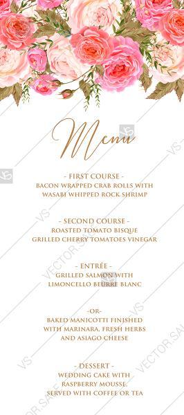 Wedding - Menu design wedding invitation set pink garden peony rose greenery PDF 4x9 in customize online