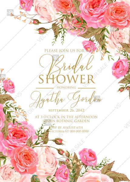 Свадьба - Bridal shower wedding invitation set pink garden peony rose greenery PDF 5x7 in invitation maker