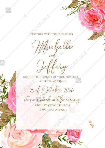 Hochzeit - Wedding invitation set printable template pink garden peony rose greenery PDF 5x7 in wedding invitation maker