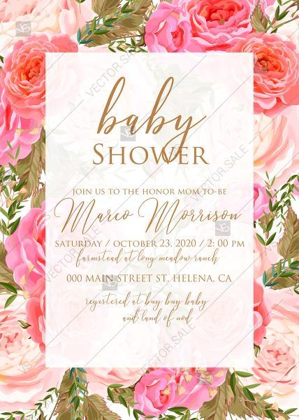 Свадьба - Baby shower wedding invitation set pink garden peony rose greenery PDF 5x7 in