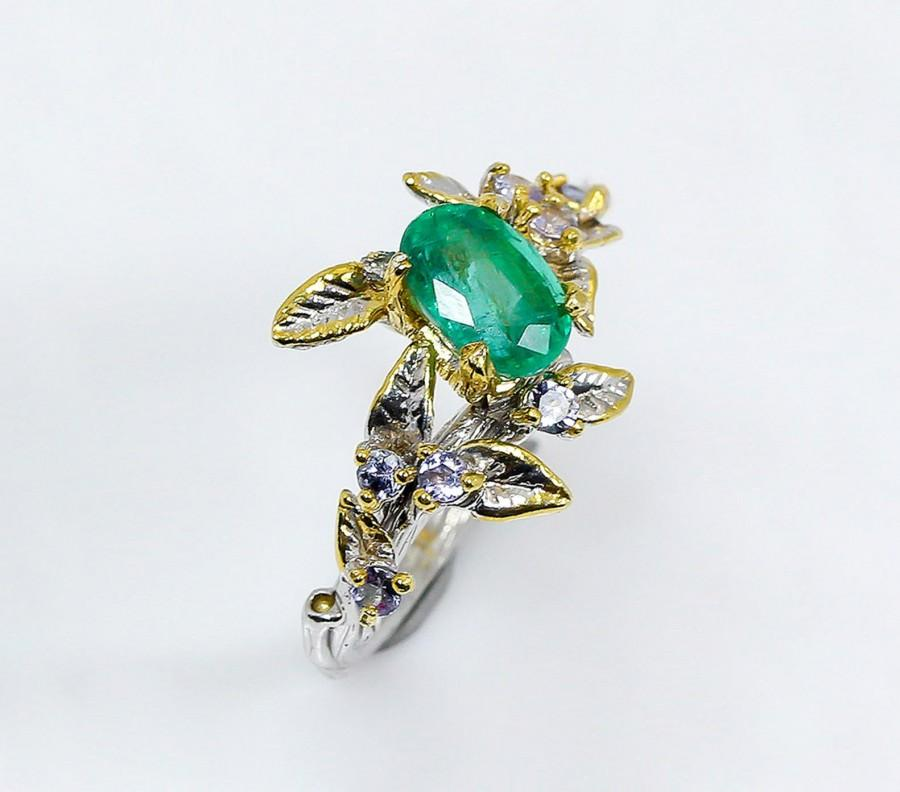 Wedding - Emerald ring for women, May Birthstone gift for her, green gemstone engagement ring, branch ring, leaves promise ring, Valentine's day gift