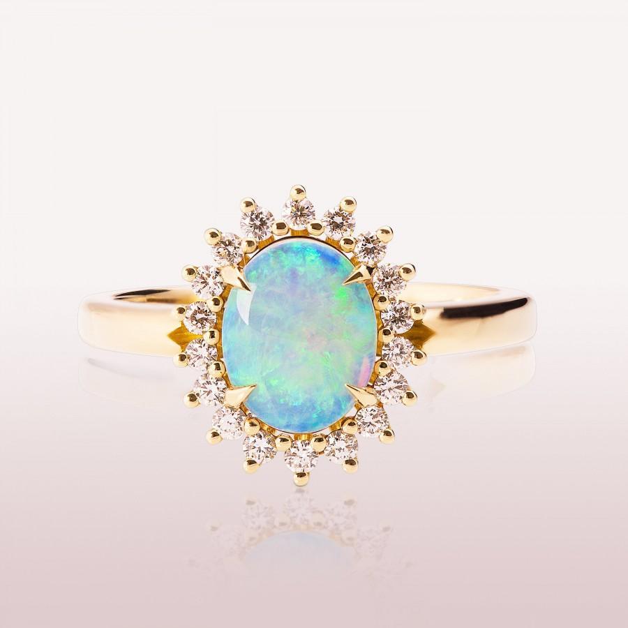 Mariage - Australian Opal engagement ring, Diana Opal Ring, Unique Engagement ring, Opal ring, Oval Opal Ring, Opal Diamonds Ring, Classic Opal Ring
