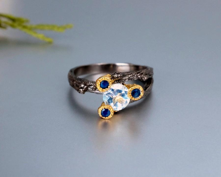 Wedding - Aquamarine ring March Birthstone jewelry, twig branch ring, sister gift, blue sapphire ring for women gemstone ring Valentine's day gift