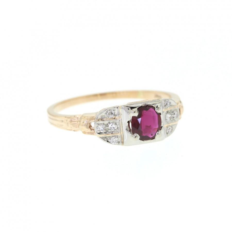 Wedding - Natural Ruby Engagement Ring, 14k Yellow Gold Ruby Engagement Ring, Vintage Ruby Ring