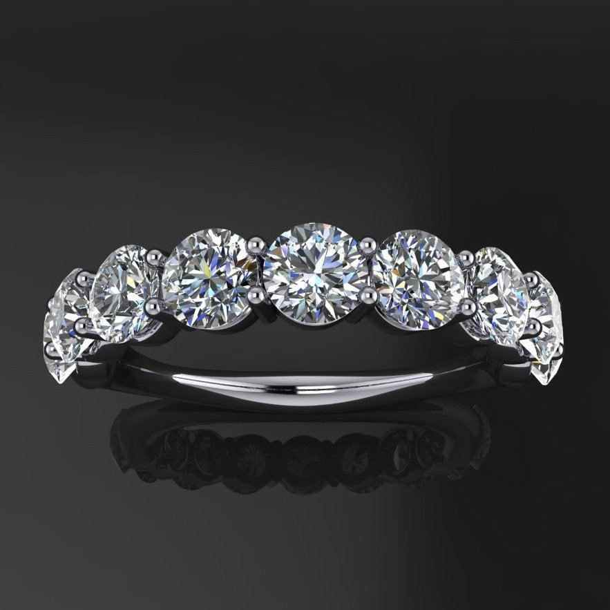 Wedding - ready to ship - gia ring - NEO moissanite anniversary band, 7 stone anniversary ring