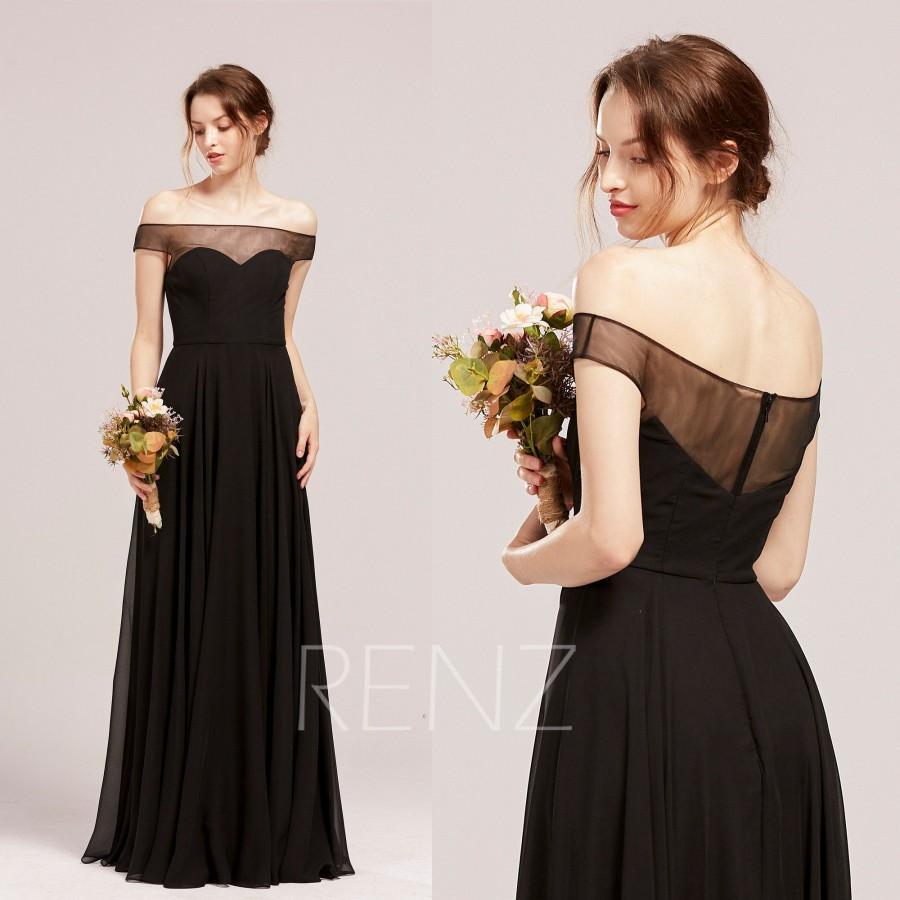 Wedding - Black Bridesmaid Dress Sweetheart Wedding Dress Tulle Off Shoulder Sleeves Chiffon Formal Dress Straight Across Neckline Prom Dress (H851)