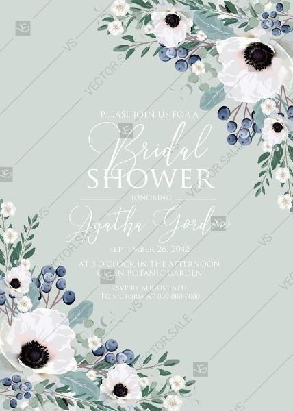 Wedding - Bridal shower wedding invitation set white anemone menthol greenery berry PDF 5x7 in invitation maker
