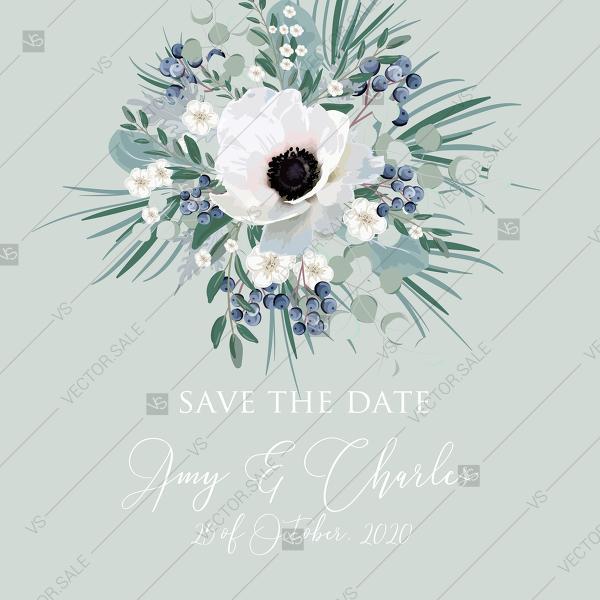 Wedding - Save the date wedding invitation set white anemone menthol greenery berry PDF 5.25x5.25 in edit online
