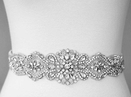 Mariage - Wedding Belt, Bridal Belt, Sash Belt, Crystal Rhinestone & Off White Pearls - Style B20727
