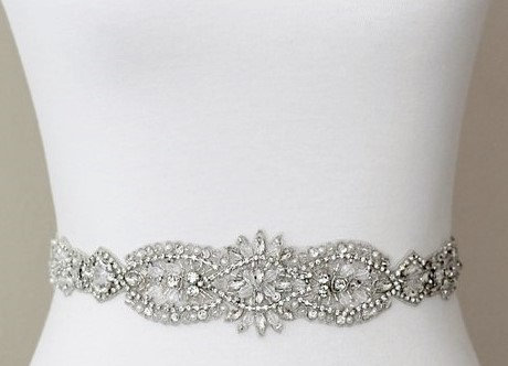 زفاف - SALE  - Wedding Belt, Bridal Belt, Sash Belt, Crystal Rhinestones, OFf White Pearls & Glass Beads - Style B18758