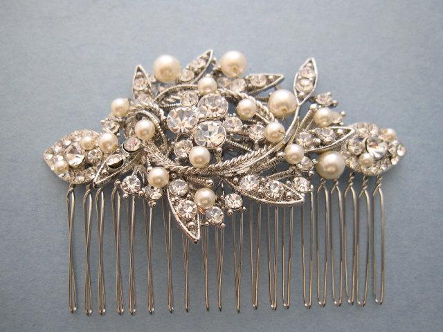 Mariage - wedding hair comb pearl hair accessories Vintage style Wedding headpiece Bridal hair comb Crystal hair clips Wedding hair jewelry Bridal