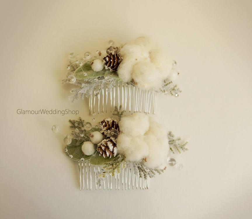 زفاف - Winter Wedding Bridal Hair Comb Pine Cones Comb Woodland Wedding Winter Wedding Hair Accessory Wedding Hair Comb