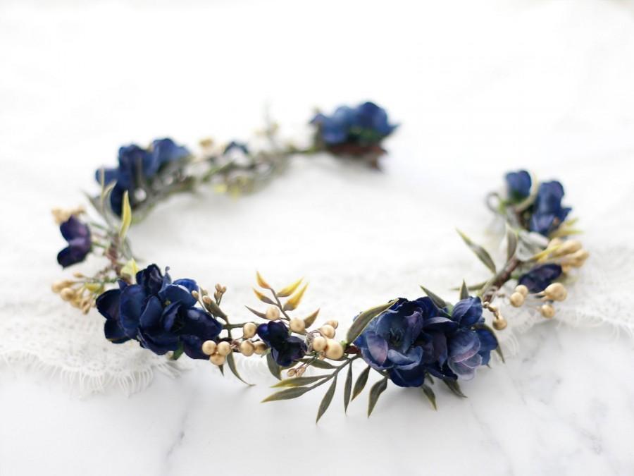 Hochzeit - Navy blue flower crown wedding, dark hair wreath, boho bride crown, bridal rustic crown, woodland floral crown, navy flower girl halo