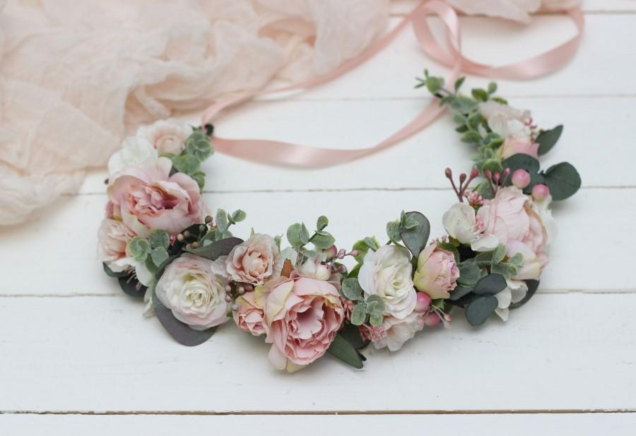 زفاف - Blush flower crown Romantic wedding Bridal floral headband Wedding hair wreath Hair flowers Bridesmaid crown Maternity Eucalyptus