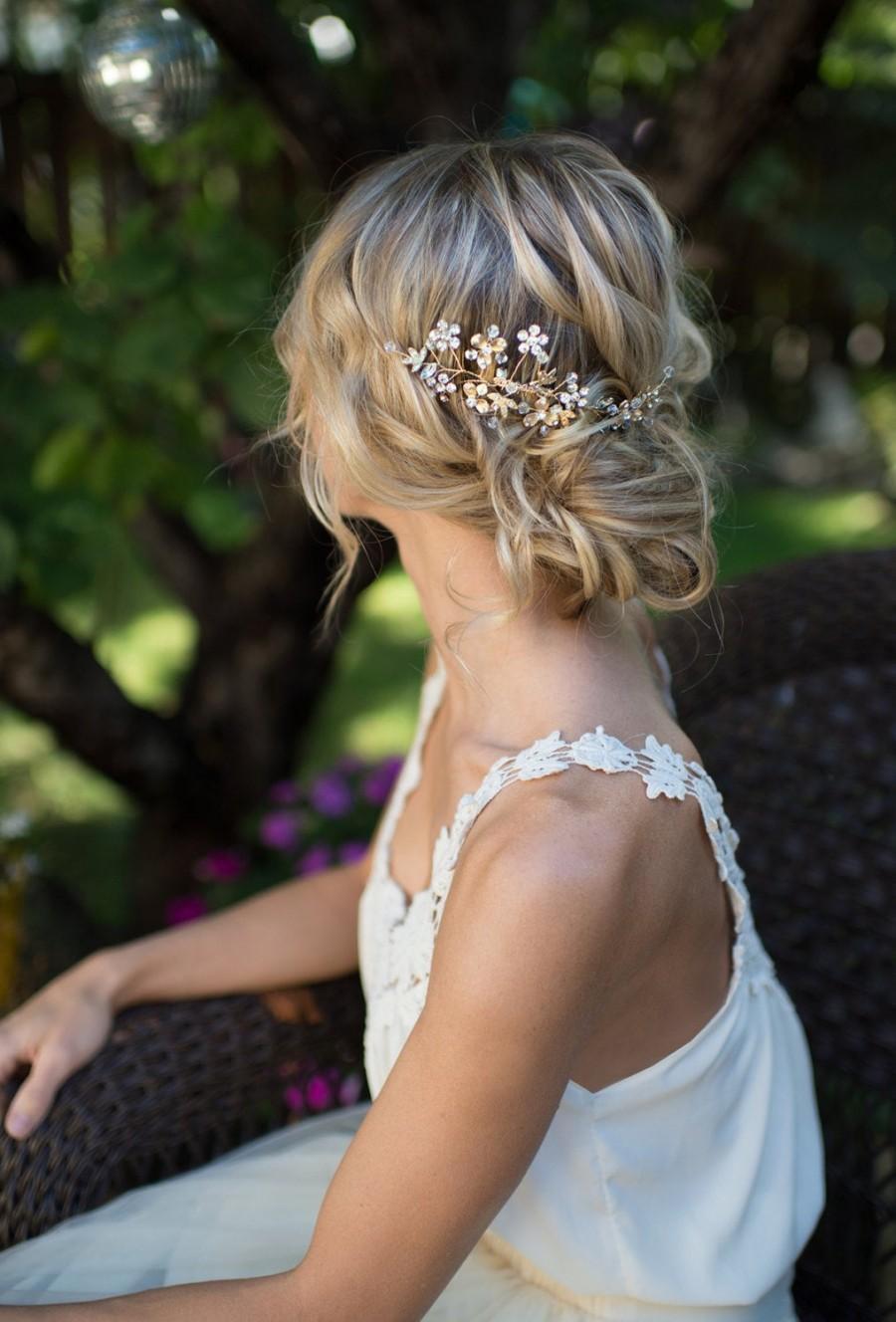 Mariage - Boho Flower Leaf Hair Accessory Comb, Bridal Hair comb, Boho Wedding Gold Hair vine leaves, Boho Headpiece - 'SABLE'