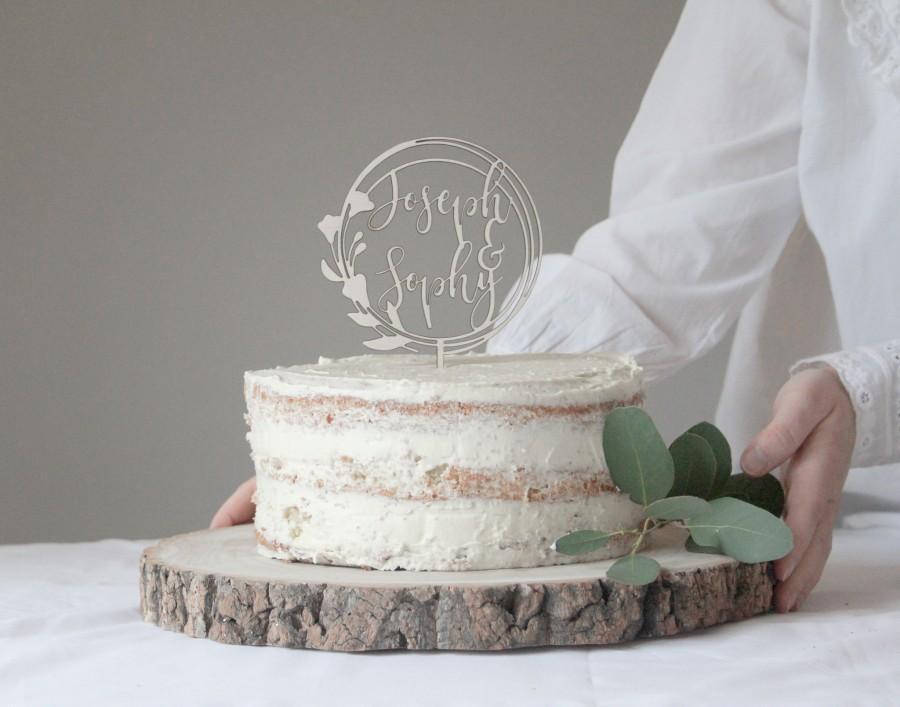 زفاف - Floral Wedding Cake Topper, Botanical Wedding Topper, Circular Wedding Topper, Wooden Cake Toppers, Name Wedding Topper, Personalized Topper